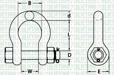 AS 2741 (Australian) Type Grade S Or 6 Bow Shackle With Safety Pin Sketch