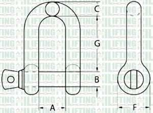AS2741 Grade S Dee Shackle with Screw Pin Sketch