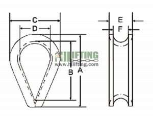 DIN 6899 Type A Wire Rope Thimble Sketch