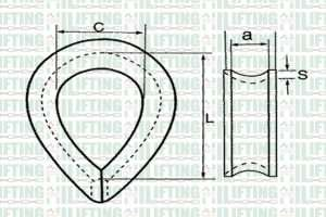 DIN 6899 Type B Wire Rope Thimble Sketch
