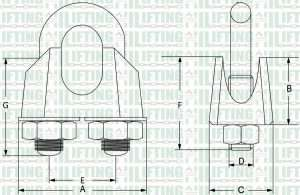 DIN 741 Malleable Wire Rope Clip Sketch