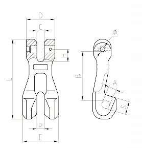 G80 European Type Clevis Chain Cultch Sketch