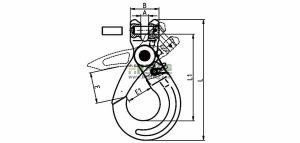 G80 European Type Clevis Self-Locking Hook Sketch