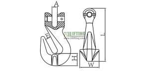 G80 European Type Clevis Shortening Grab Hook Sketch