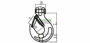 G80 European Type Clevis Sling Hook Sketch