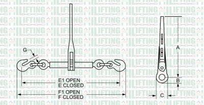 Ratchet Type Load Binders 140 Sketch