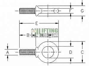 Shoulder Type Machinery Eye Bolts G-279 Sketch