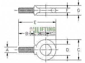 Shoulder Type Machinery Eye Bolts G-279 Sketch