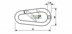 Snap Hook Egg Type DIN5299 Form B Sketch