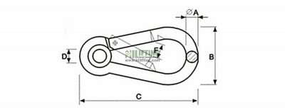 Snap Hook With Eyelet DIN5299 Form A Sketch