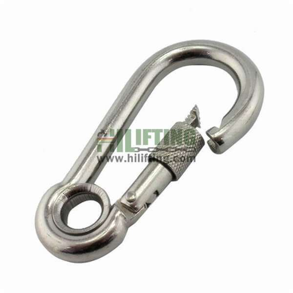Stainless Steel Carabiner Snap Hook With Eyelet and Screw