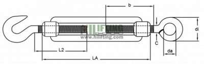 Stainless Steel DIN1480 turnbuckle Eye Hook Type Sketch