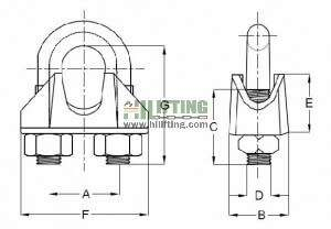 Stainless Steel DIN741 Wire Rope Clip Sketch