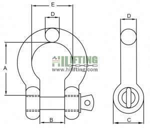 Stainless Steel European Type Large Bow Shackle Sketch