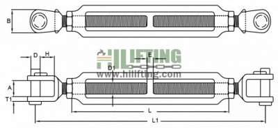 Stainless Steel European Type Turnbuckle Jaw and Jaw End Sketch