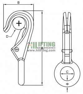 Stainless Steel Fixed Eye Boat Snap Hook Sketch