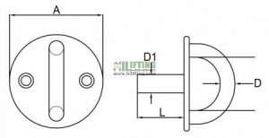 Stainless Steel Round Eye Plate With Threaded Stud Sketch