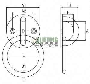 Stainless Steel Round Eye Plate with Ring Sketch