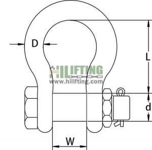 Stainless Steel Safety Pin Anchor Shackle G-2130 Sketch