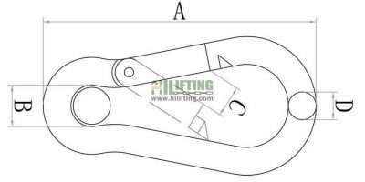 Stainless Steel Snap Hook with Eyelet Sketch