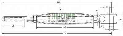 Stainless Steel Turnbuckle Toggle Wire Rope Terminal Sketch