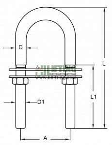 Stainless Steel U Bolt With Two Plates and Nuts Sketch