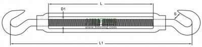 Stainless Steel US Type Turnbuckle Hook and Hook Sketch