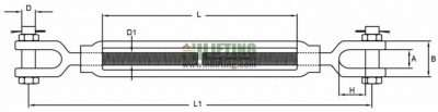 Stainless Steel US Type Turnbuckle Jaw and Jaw Sketch