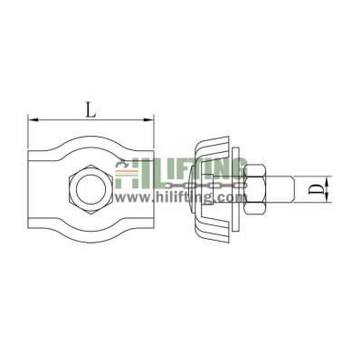 Stainless steel Simplex Wire Rope Clip Sketch