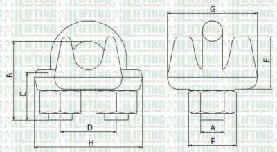 US Type Drop Forged Wire Rope Clip Sketch