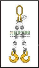 Double Chain Sling with Master Link and Clevis Forest Hook