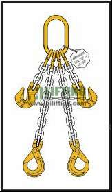 Double Chain Sling with Master Link and Clevis Self Locking Hook and Adjustable (Cradle Clevis Grab Hook)