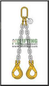 Double Chain Sling with Master Link and Clevis Self Locking Hook