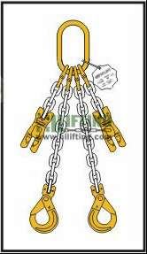 Double Chain Sling with Master Link and Clevis Self Locking and Adjustable (Shortening Clutch)