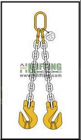 Double Chain Sling with Master Link and Cradle Clevis Grab Hook