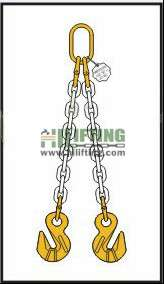 Double Chain Sling with Master Link and Cradle Eye Grab Hook