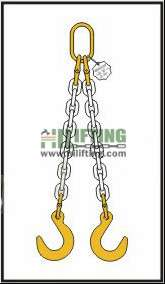 Double Chain Sling with Master Link and Eye Foundry Hook