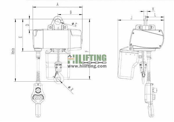 Electric Chain Hoist EHE Type Sketch