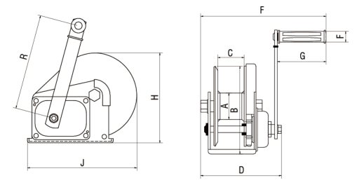 Hand Winch With Friction Brake Sketch
