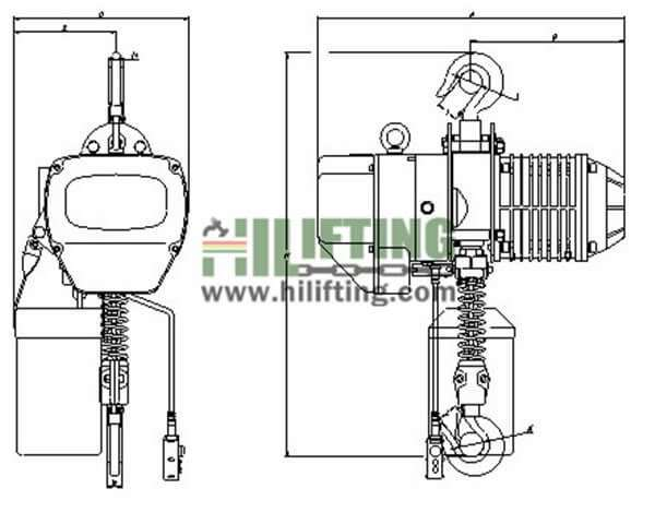 Heavy Duty Electric Chain Hoist (EHK TYPE) Sketch