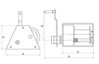Industrial Hand Winch A Type Sketch