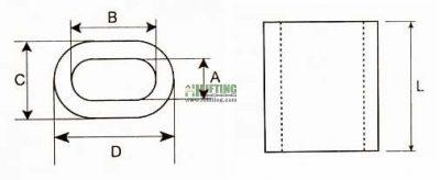 Oval Aluminum Wire Rope Ferrule Sketch