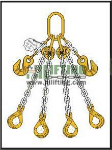 Quadruple Chain Sling with Master Link Assembly and Clevis Self Locking Hook and Adjustable (Cradle Eye Grab Hook)