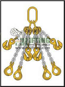 Quadruple Chain Sling with Master Link Assembly and Clevis Self Locking Hook and Adjustable (Two Cradle Eye Grab Hook With Chain)