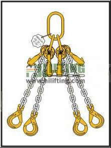 Quadruple Chain Sling with Master Link Assembly and Clevis Self Locking Hook and Adjustable (Two Cradle Eye Grab Hook)