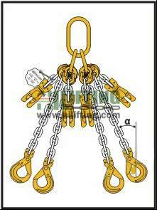 Quadruple Chain Sling with Master Link Assembly and Clevis Self Locking Hook and Adjustable (Two Shortening Clutch)