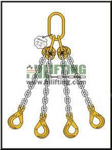 Quadruple Chain Sling with Master Link Assembly and Clevis Self Locking Hook