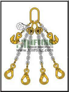 Quadruple Chain Sling with Master Link Assembly and Eye Self Locking Hook and Adjustable (Cradle Eye Grab Hook)