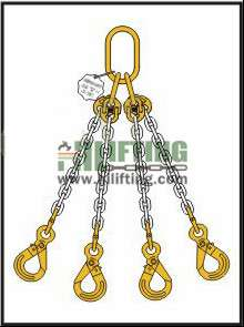 Quadruple Chain Sling with Master Link Assembly and Eye Self Locking Hook