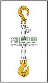 Single chain sling with clevis sling hook with safety latch and cradle clevis grab hook